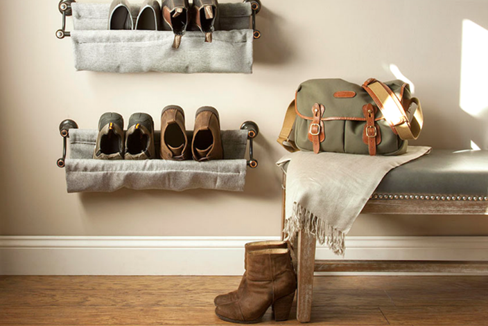 Declutter your Edmund apartment and get organized with with DIY shoe racks.