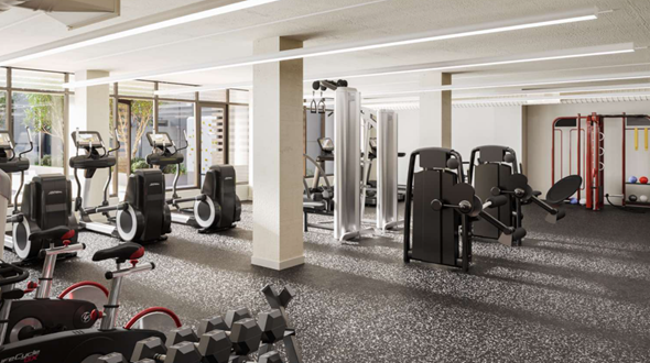 The Edmund features a combination of indoor and outdoor fitness spaces accommodate a variety of workouts.